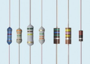 Several resistors; 1 blue, 3 grey, 3 brown