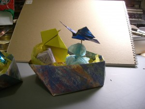 Origami Easter basket with butterfly and chick