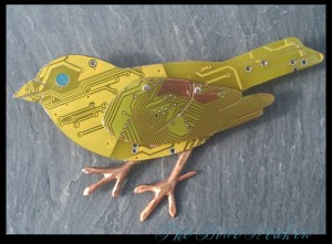 Bird broach made out of circuit boards.
