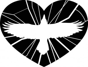 silhouette of a raven in flight on a shattered heart